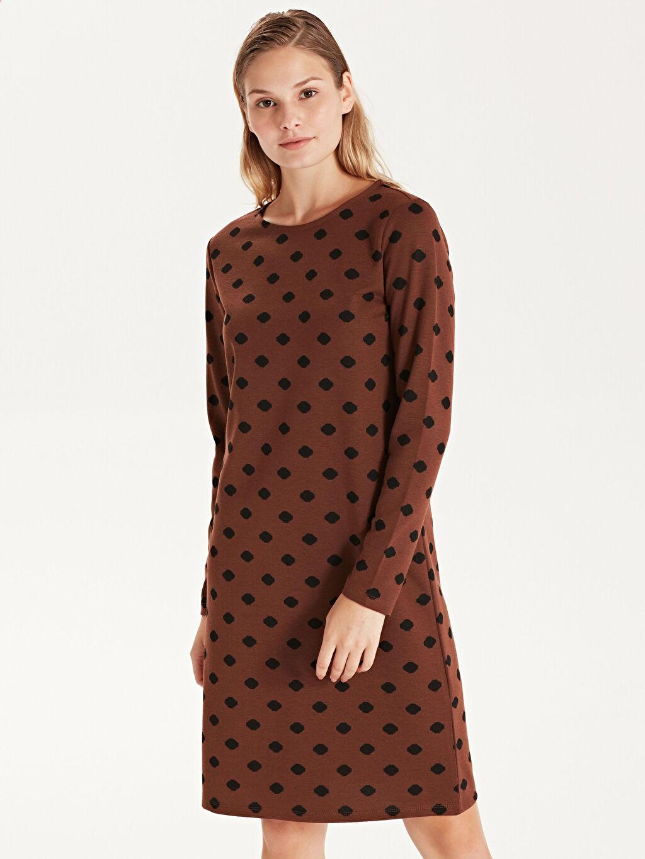 %69 Polyester %30 Viskoz %1 Elastan Diz Üstü Desenli Uzun Kol Desenli Esnek Elbise