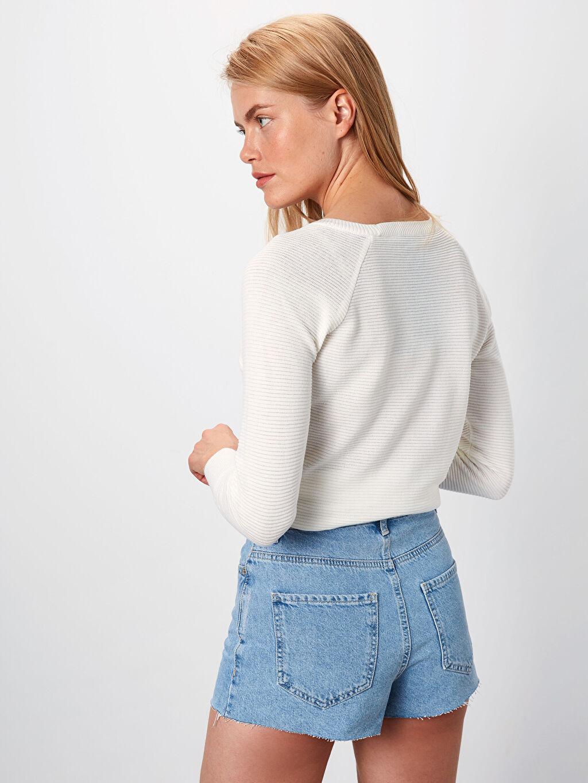 Kadın Yüksek Bel Jean Şort