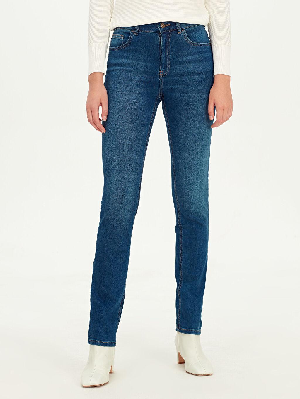%98 Pamuk %2 Elastan Esnek Jean Yüksek Bel Standart Yüksek Bel Çizme Paça Jean Pantolon