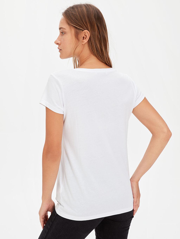 Kadın Düz V Yaka Tişört