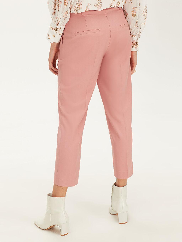 %94 Polyester %6 Elastan Yüksek Bel Esnek Havuç Pantolon