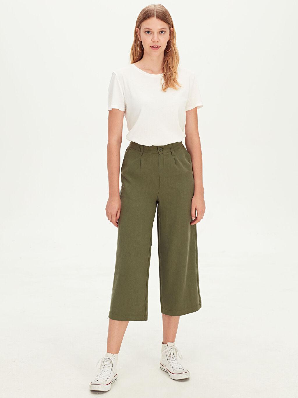%26 Poliester %74 Lyocell Bol Geniş Paça Yüksek Bel Pantolon Kısa Paça Yüksek Bel Pantolon