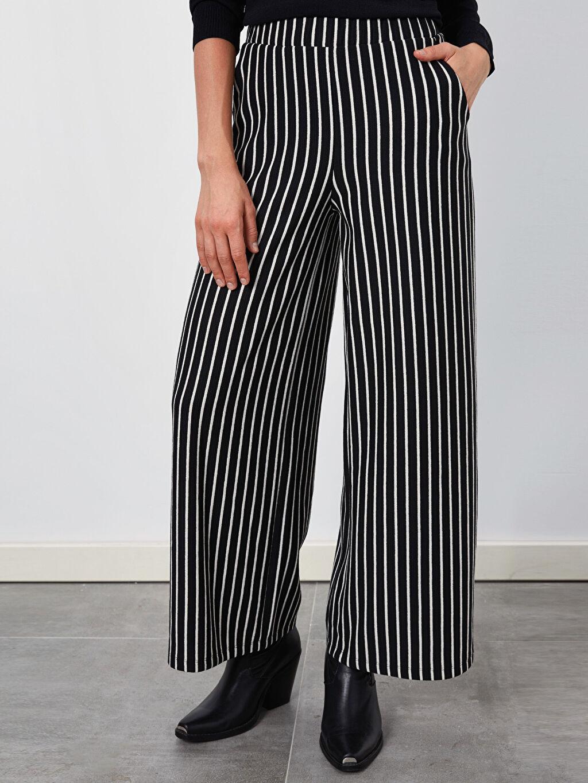 %42 Pamuk %58 Polyester Normal Bel Bol Geniş Paça Lastikli Bel Pantolon Çizgili Palazzo Pantolon