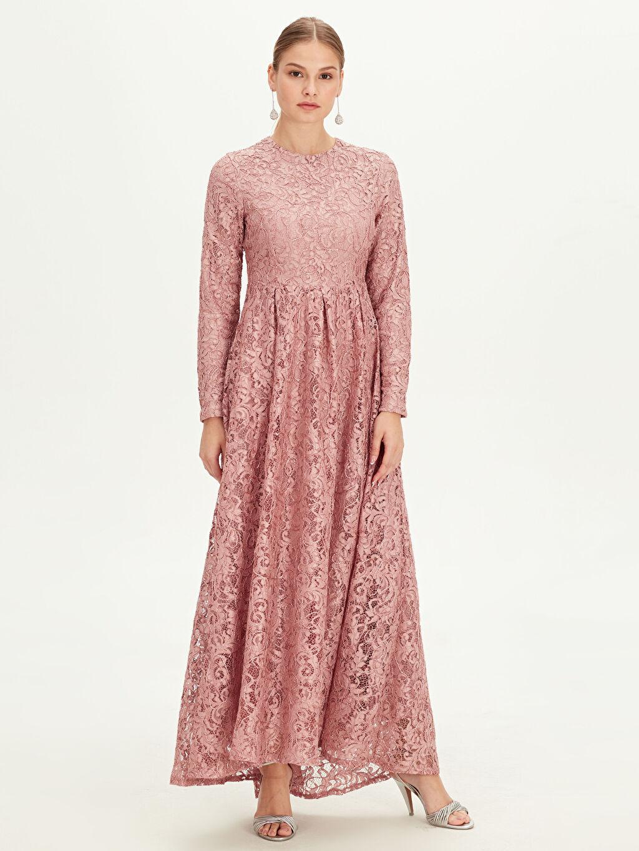 %100 Polyester %100 Polyester Uzun Desenli Uzun Kol Dantelli Uzun Abiye Elbise
