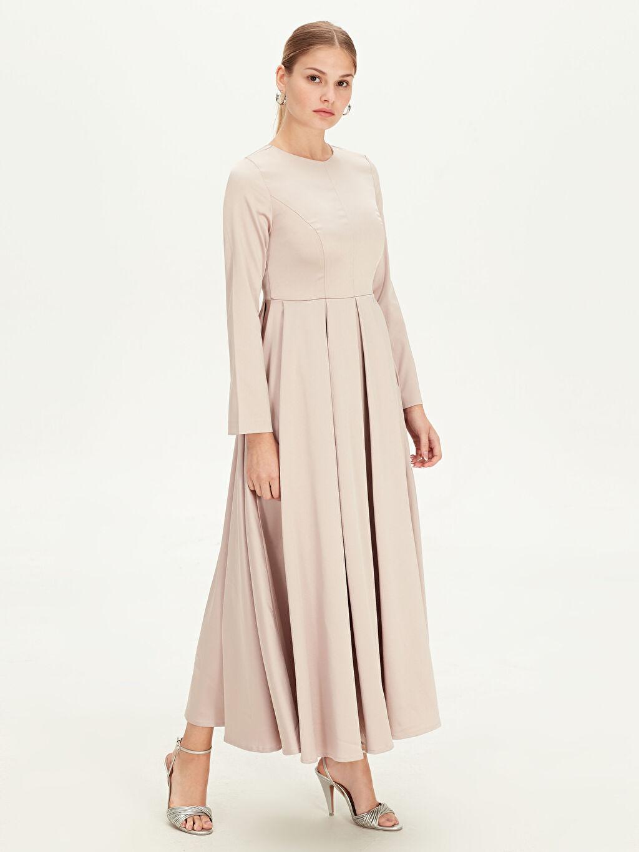 %100 Polyester %100 Polyester Uzun Düz Uzun Kol Uzun Düz Elbise