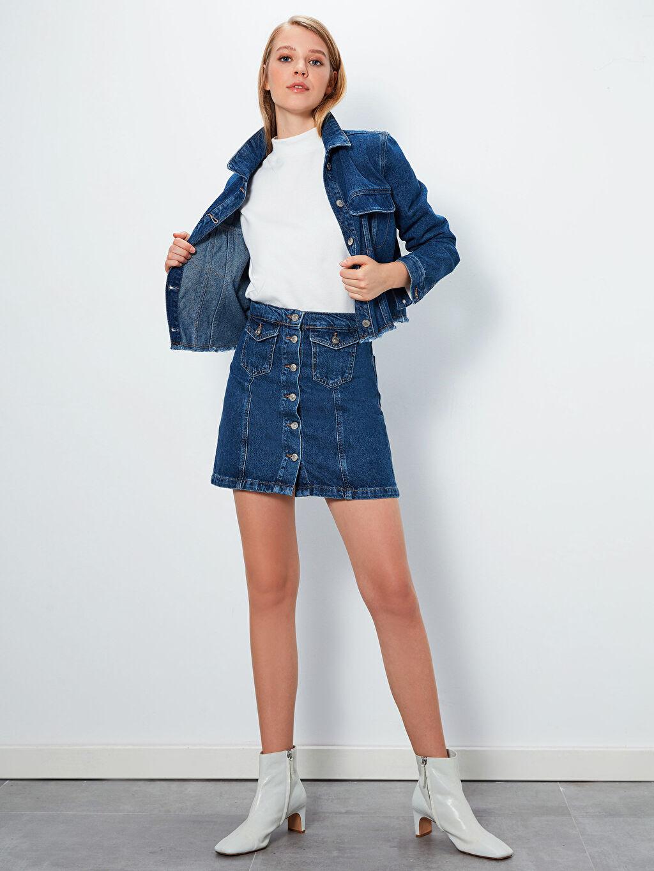 Kadın Düğmeli Mini Jean Etek