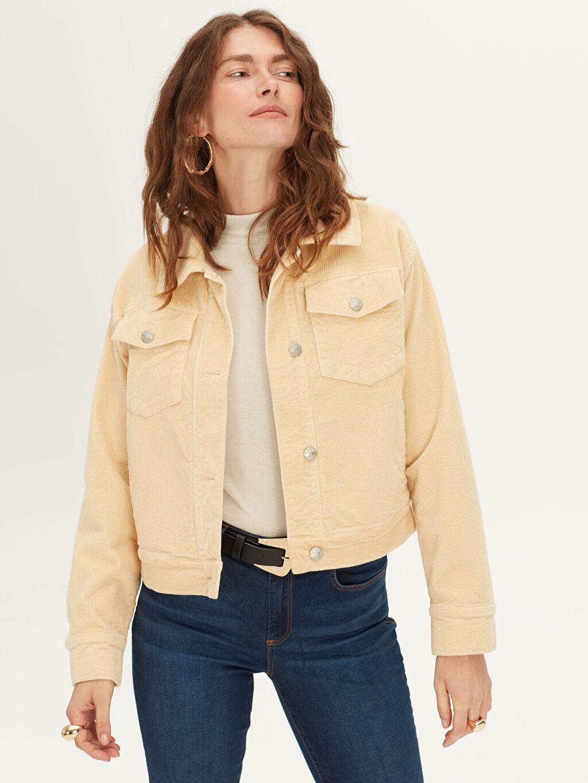 Kadın Cepli Fitilli Kadife Ceket