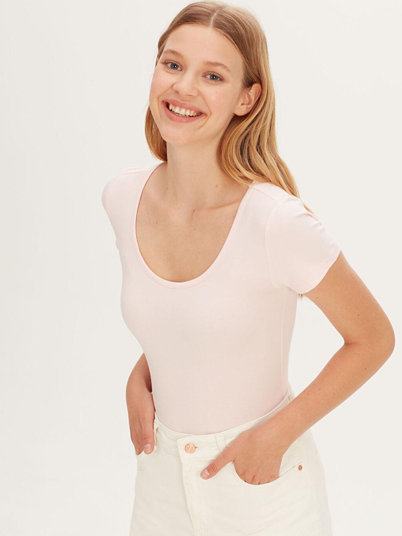 %96 Pamuk %4 Elastan Standart Düz Var Kısa Kol Tişört Diğer Pamuklu Ekstra Dar Bodysuit