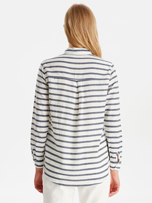 Kadın Pamuklu Çizgili Gömlek