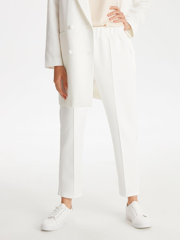 %94 Polyester %6 Elastan Normal Bel Standart Lastikli Bel Pantolon Beli Lastikli Esnek Pantolon