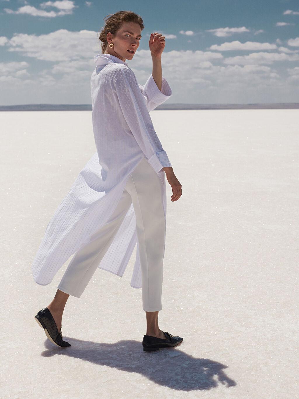 %94 Polyester %6 Elastan Beli Lastikli Esnek Pantolon