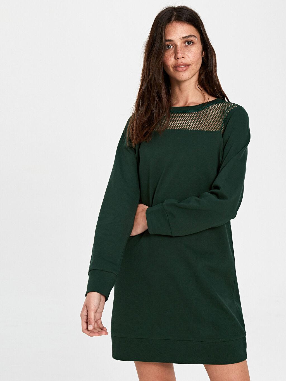%100 Pamuk Diz Üstü Düz Uzun Kol Yakası File Detaylı Pamuklu Elbise