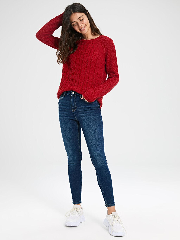 %99 Pamuk %1 Elastan Yüksek Bel Esnek Dar Jean Super Skinny Jean Pantolon