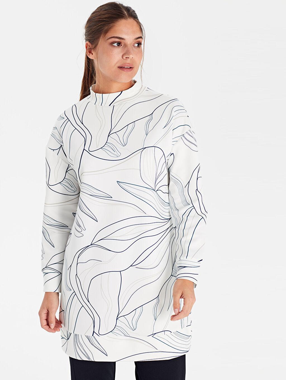 Kadın Dik Yaka Desenli Esnek Tunik