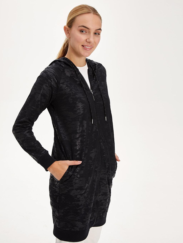Siyah Kapüşonlu Fermuarlı Uzun Sweatshirt 9WN990Z8 LC Waikiki