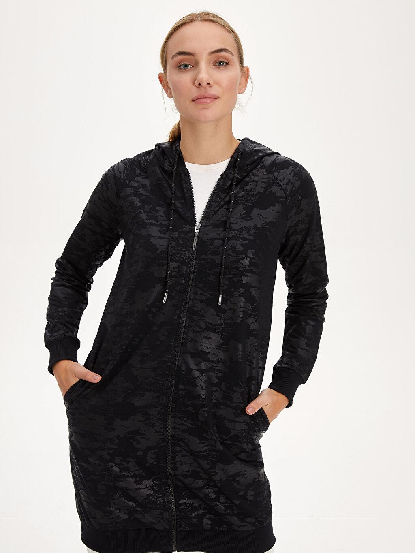 %50 Pamuk %50 Polyester  Kapüşonlu Fermuarlı Uzun Sweatshirt