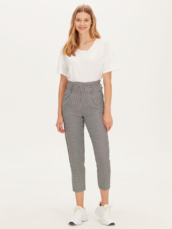 %65 Polyester %35 Viskoz Kemerli Pantolon Normal Bel Standart Bilek Boy Kemerli Ekose Havuç Pantolon