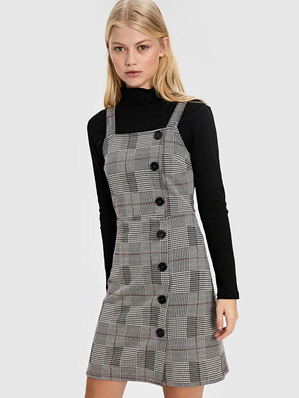 %69 Polyester %2 Elastan %29 Viskoz Diz Üstü Ekoseli Kolsuz Askılı Ekose Elbise