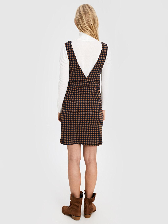 Kadın V Yaka Ekose Elbise