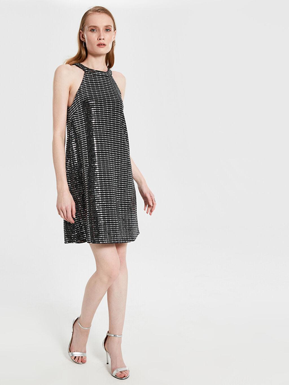 Siyah Halter Yaka Işıltılı Elbise 9WO515Z8 LC Waikiki