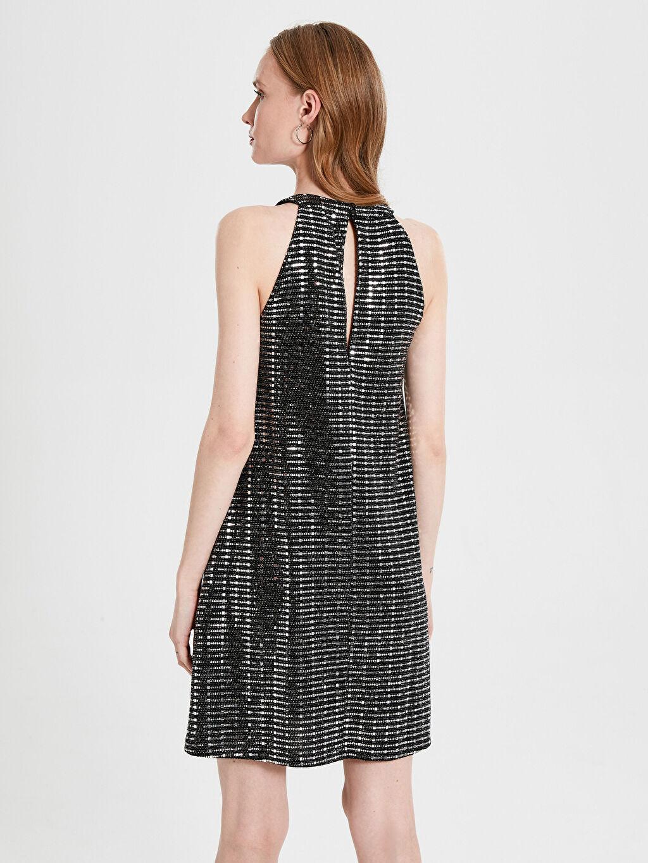 Kadın Halter Yaka Işıltılı Elbise