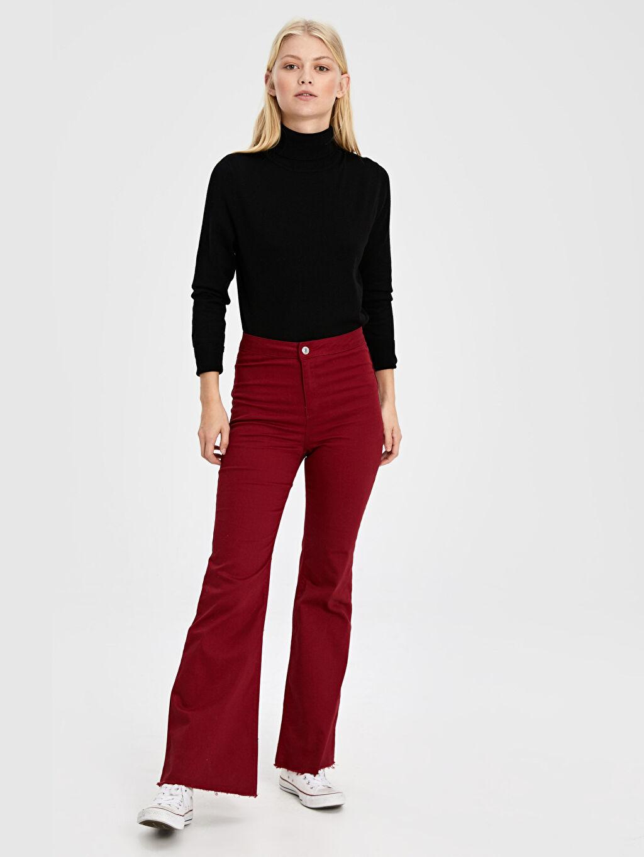 %97 Pamuk %3 Elastan Normal Bel Standart İspanyol Paça Pantolon İspanyol Paça Pantolon