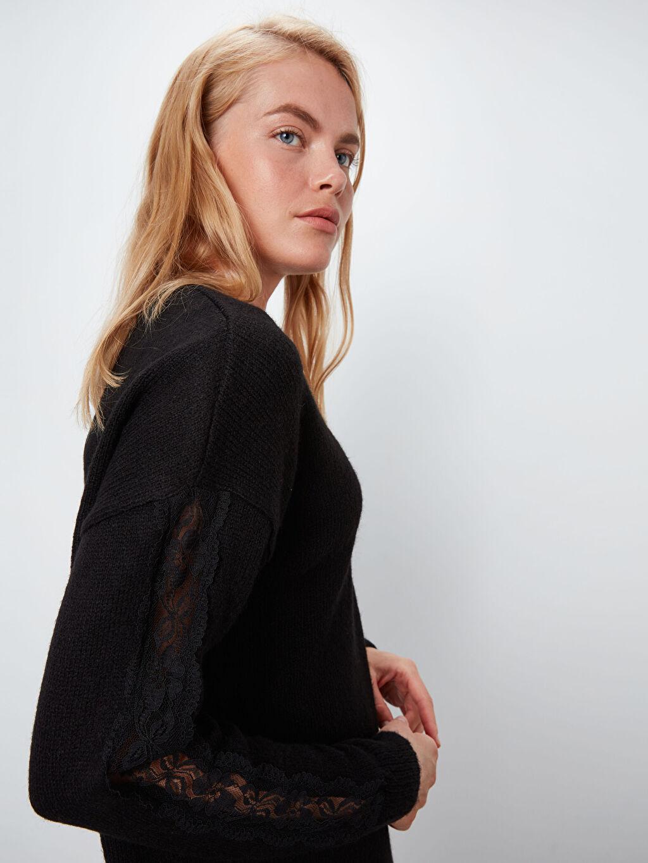 Kadın V Yaka Kalın Triko Salaş Elbise