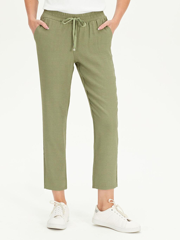 Kadın Beli Lastikli Havuç Kesim Pantolon