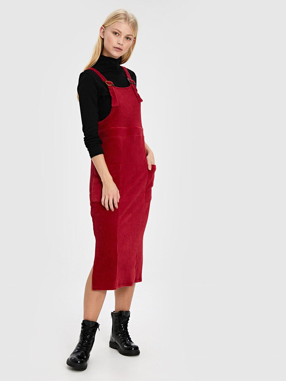 Kırmızı Kadife Salopet Elbise 9WP736Z8 LC Waikiki