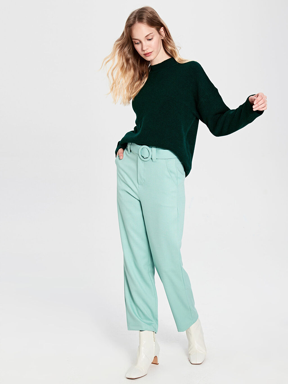 %41 Poliester %53 Viskoz %6 Elastan Normal Bel Standart Pantolon Kuşaklı Düz Paça Pantolon