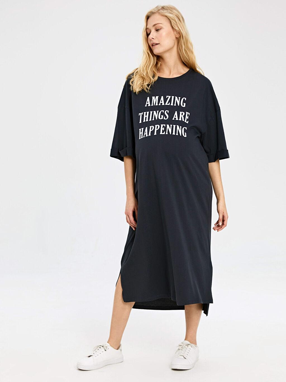 %100 Pamuk Elbise Yazı Baskılı Salaş Pamuklu Hamile Elbise