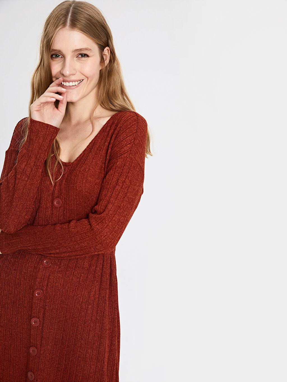 %99 Polyester %1 Elastan Diz Altı Desenli Uzun Kol Kendinden Desenli Beli Lastikli Elbise
