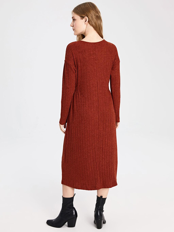 Kadın Kendinden Desenli Beli Lastikli Elbise