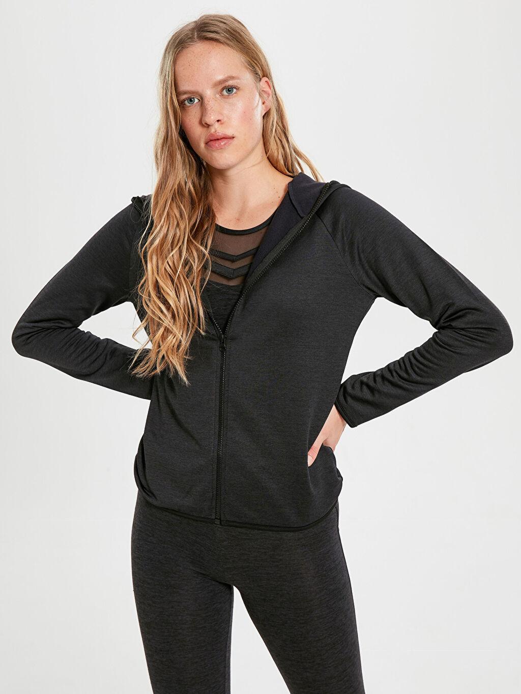 Siyah Kapüşonlu Aktif Spor Sweatshirt 9WQ122Z8 LC Waikiki