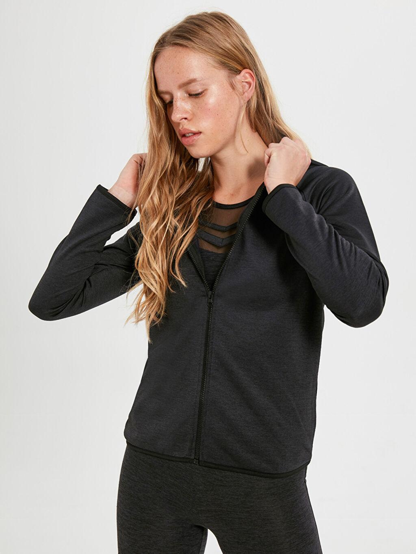 Kadın Kapüşonlu Aktif Spor Sweatshirt