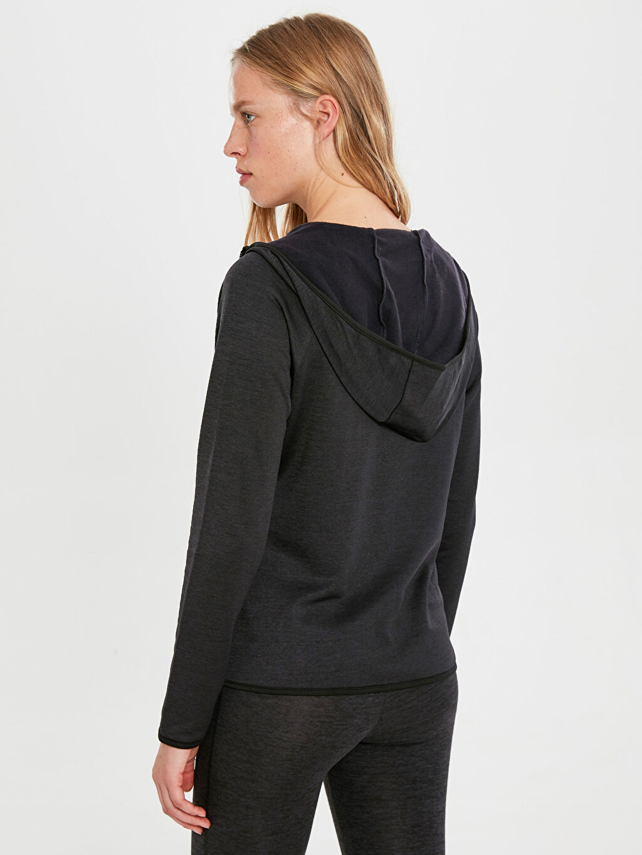 %95 Polyester %5 Elastan Kapüşonlu Aktif Spor Sweatshirt