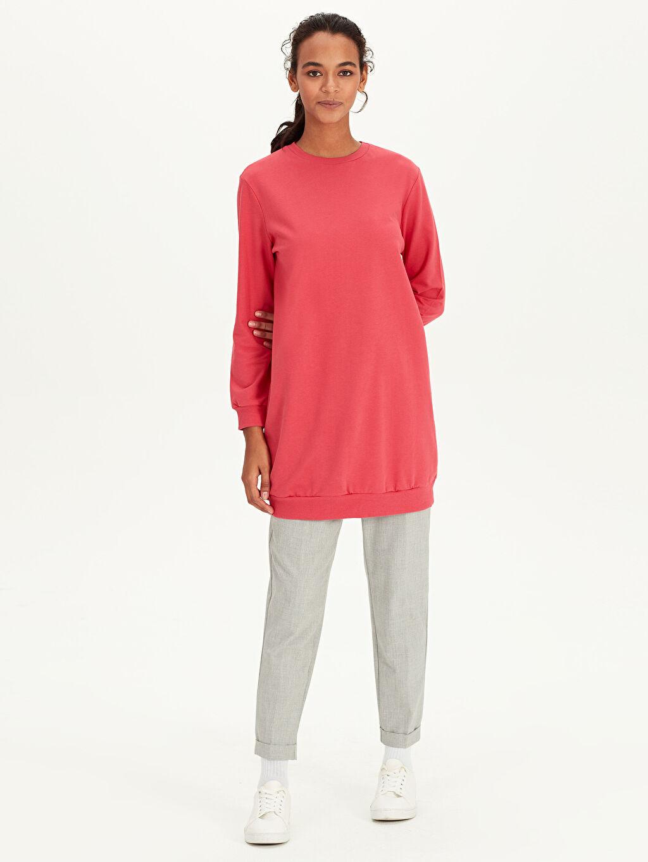 %100 Pamuk  Düz Pamuklu Spor Sweatshirt