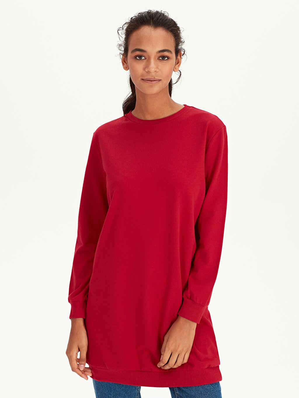 Kırmızı Düz Pamuklu Spor Sweatshirt 9WQ457Z8 LC Waikiki