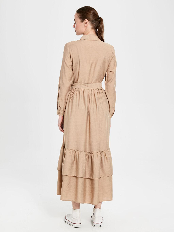 Kadın Belden Kuşaklı Viskon Gömlek Elbise
