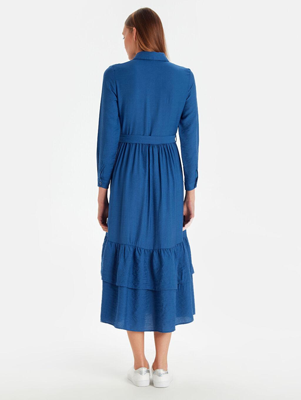 %23 Poliamid %77 Viskoz Uzun Düz Uzun Kol Belden Kuşaklı Viskon Gömlek Elbise