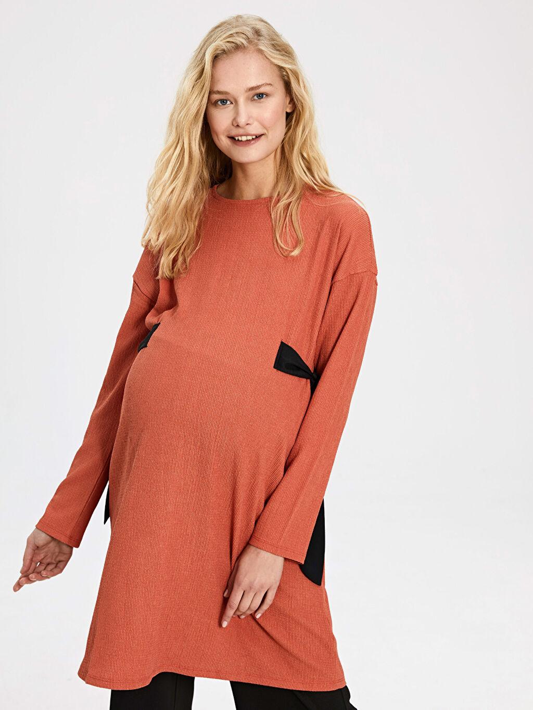%99 Polyester %1 Elastan Gömlek, Bluz ve Tunik Beli Bağlama Detaylı Dokulu Kumaştan Hamile Tunik