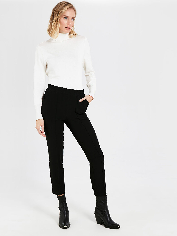 %88 Polyester %12 Elastan Standart Yüksek Bel Esnek Kısa Paça Lastikli Bel Pantolon Bilek Boy Esnek Pantolon