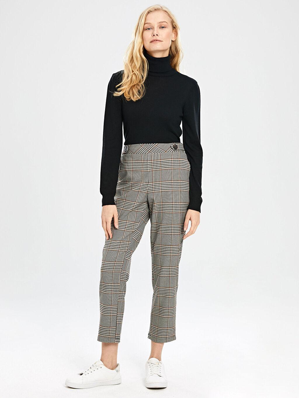 %63 Polyester %5 Elastan %32 Viskon Yüksek Bel Havuç Lastikli Bel Pantolon Bilek Boy Ekose Havuç Pantolon
