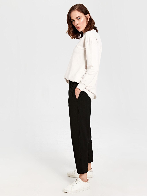 %63 Polyester %4 Elastan %33 Viskon Harem Esnek Kısa Paça Lastikli Bel Pantolon Lastikli Bel Harem Pantolon