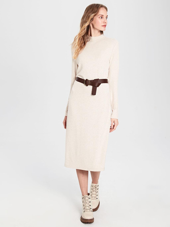 %16 Polyester %81 Viskoz %3 Elastan %100 Poliüretan Uzun Düz Uzun Kol Kemerli Uzun Elbise
