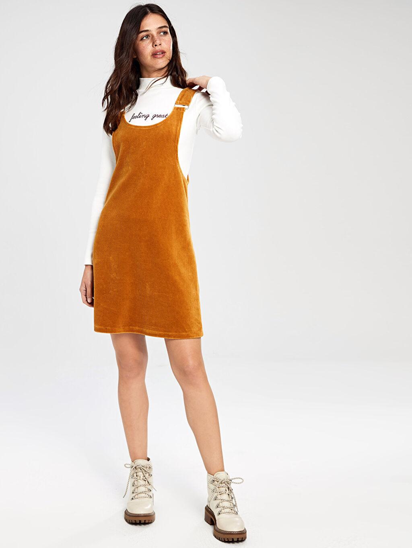 %73 Pamuk %25 Polyester %2 Elastan  Kadife Salopet Mini Elbise