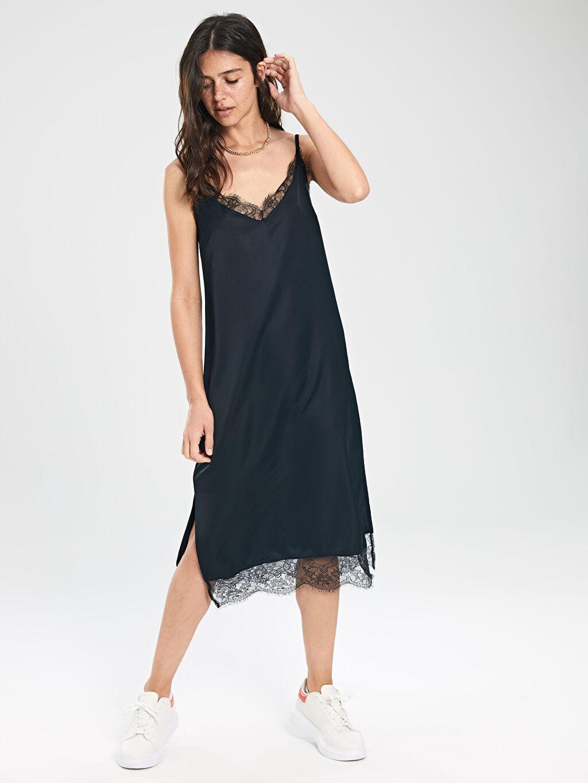 Kadın Dantel Detaylı Askılı Elbise