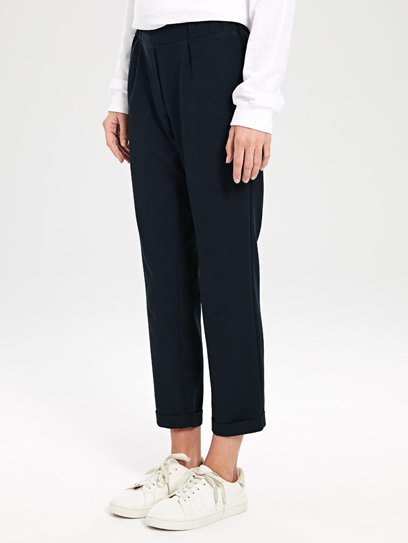 %87 Polyester %13 Elastan Beli Lastikli Esnek Pantolon