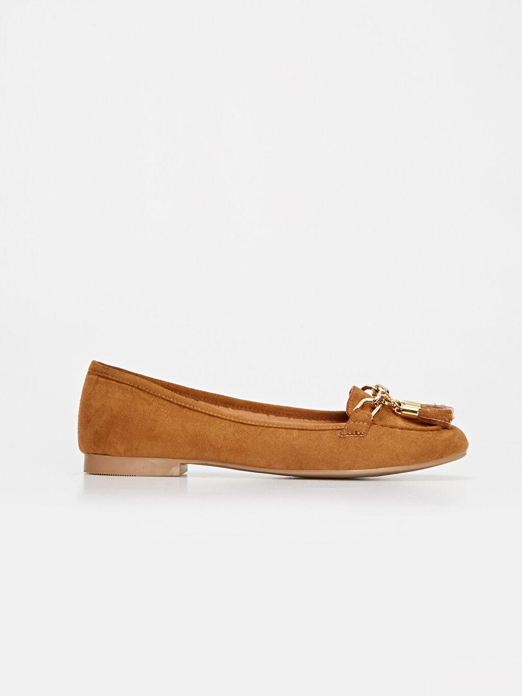 Kahverengi Kadın Püsküllü Babet Ayakkabı 9WS015Z8 LC Waikiki