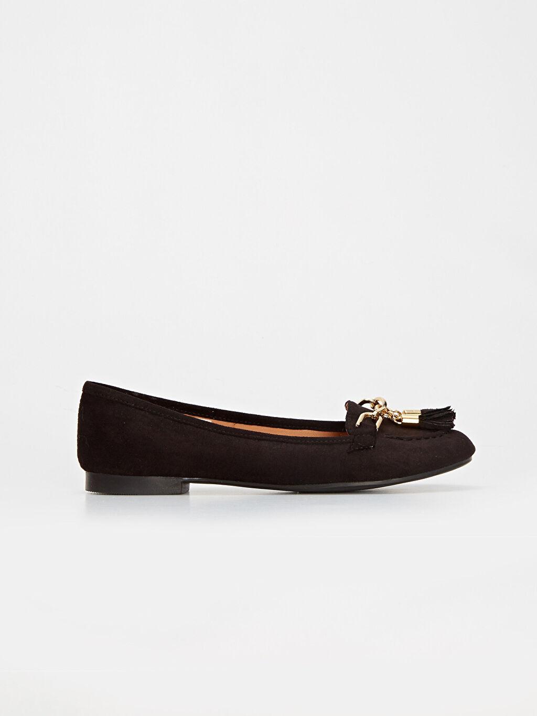 Siyah Kadın Püsküllü Babet Ayakkabı 9WS015Z8 LC Waikiki